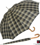 Schirm Knirps Herren Regenschirm Long AC check brown 589