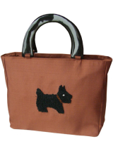 Handtasche mit Scottish-Terrier braun