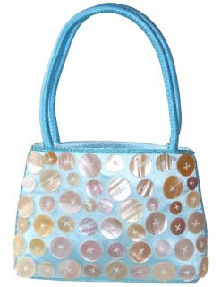 Tasche mit Knopfdesign aqua