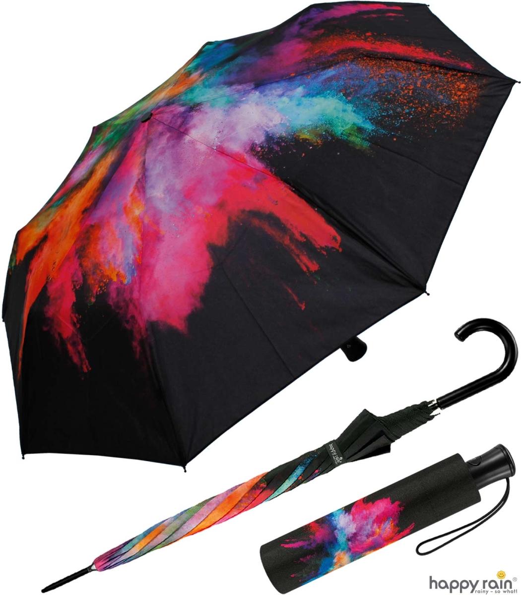 regenschirm groß stabil mit automatik schwarz bedruckt