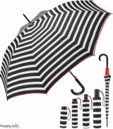 Regenschirm schwarz bedruckt - black & white stripes