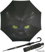 Regenschirm mit Auf-Automatik schwarz bedruckt - cat
