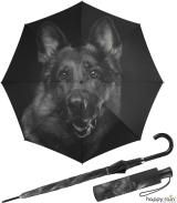 Regenschirm mit Auf-Automatik schwarz bedruckt - dog