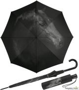 Regenschirm mit Auf-Automatik schwarz bedruckt - horse
