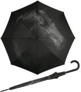 Regenschirm mit Auf-Automatik schwarz bedruckt - horse -...
