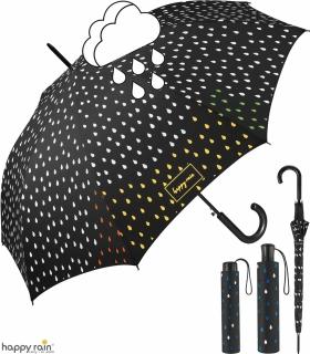 Regenschirm schwarz mit Farbwechsel bei Nässe - Rain Drops