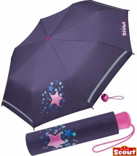 Scout Kinder-Taschenschirm mit reflektierendem Streifen Sweet Stars
