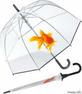 Glockenschirm transparent mit Automatik goldfish