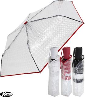 iX-brella Taschenschirm transparent mit Lens-Effekt und farbigem Griff und Einfassband