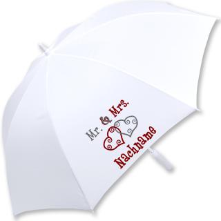 iX-brella XXL Mr.&Mrs. Hochzeitsschirm Automatik personalisiert mit Name - Brautschirm All In White - Herzen rot grau
