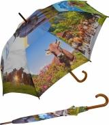 Damen Stockschirm mit Holzgriff Alpenkuh