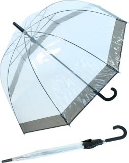 Regenschirm Glockenschirm durchsichtig transparent Borte schwarz