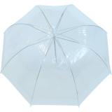 Regenschirm Glockenschirm durchsichtig transparent Borte weiss