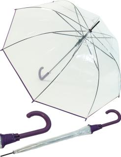 Regenschirm durchsichtig transparent mit Einfassband lila