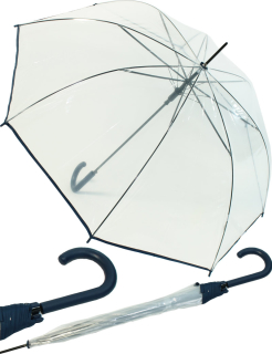 Regenschirm durchsichtig transparent mit Einfassband navy