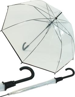 Regenschirm durchsichtig transparent mit Einfassband schwarz