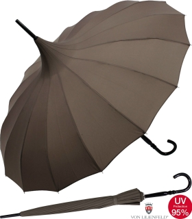 Regenschirm Sonnenschirm Long Pagode UV-Protection Cecile braun