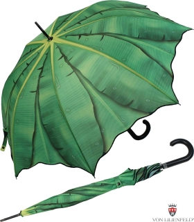 Regenschirm Automatik Schirm Tropische Momente - Bananenblatt  UV-Protection