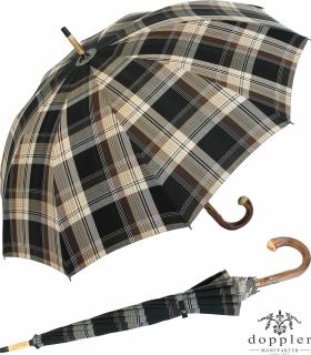 Doppler Manufaktur Herren Regenschirm Kastanie Schirm - Karo beige braun