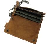 Biker-Wallet Kettenbörse 5 tlg. Brieftasche mit Kette LandLeder Grassland-Origin sattelbraun