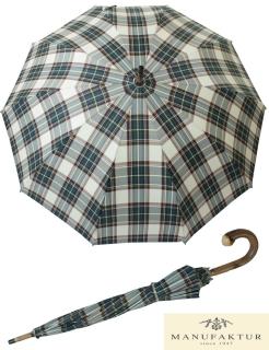 Doppler Manufaktur Herren Regenschirm Kastanie Schirm - Karo grün mit weißen Streifen