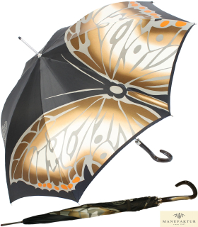 Doppler Manufaktur Regenschirm Elegance Noblesse Butterfly braun