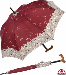 Regenschirm Stockschirm Stützschirm Fritzgriff kariert groß stabil Damen Herren schwarz-rot