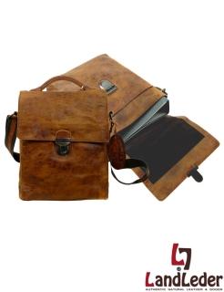 LandLeder Messenger JAMAL - Herrentasche in Ordnergröße- Rugged-Hide Leder natural