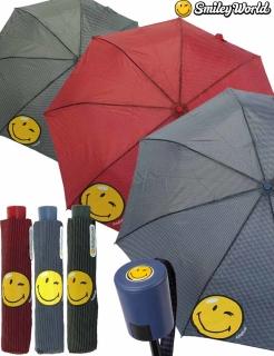 Regenschirm Mini Automatik Schirm bedruckt Smiley World - streif