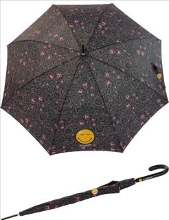 Regenschirm Stockschirm Automatik Schirm bedruckt Smiley World - fully black