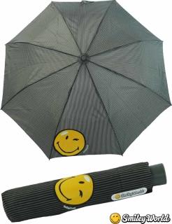 Regenschirm Mini Automatik Schirm bedruckt Smiley World - streif black