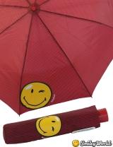 Regenschirm Mini Automatik Schirm bedruckt Smiley World - streif red