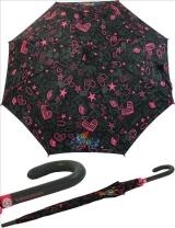 Regenschirm Stockschirm Automatik - Kukuxumusu - Rotkäppchen küsst Wolf pink