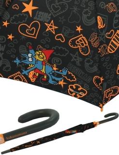 Regenschirm Stockschirm Automatik - Kukuxumusu - Rotkäppchen küsst Wolf orange