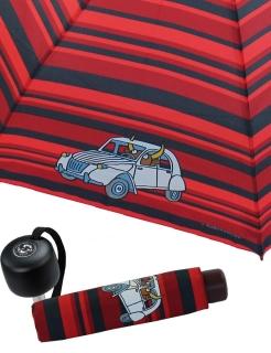 Regenschirm Super Mini Schirm - Kukuxumusu - Ochse und Auto rot