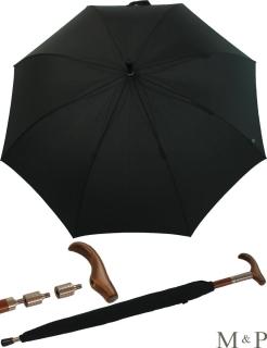 M&P Herren Stützschirm Größe höhenverstellbar - groß und stabil - schwarz