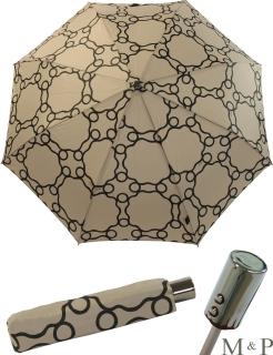 M&P Taschenschirm Mini Regenschirm stabil Auf-Zu-Automatik Geometrico sand