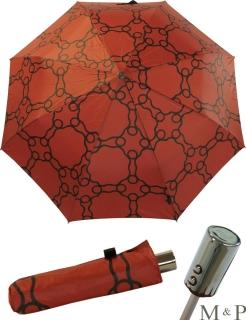M&P Taschenschirm Mini Regenschirm stabil Auf-Zu-Automatik Geometrico terracotta