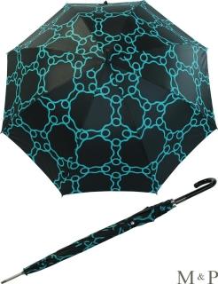 M&P Damen Regenschirm Long stabil Automatik Geometrico dunkelblau