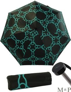 M&P Super Mini Taschenschirm - Regenschirm klein leicht - Geometrico petrol