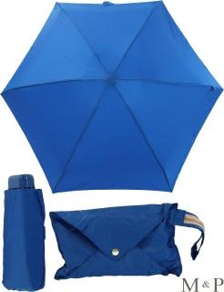 M&P Super Mini Regenschirm klein und leicht mit Handtasche blau