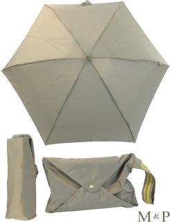 M&P Super Mini Regenschirm klein und leicht mit Handtasche hellgrau