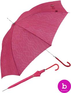 Bisetti Regenschirm Long Automatik - Knit Illusion rot - pink