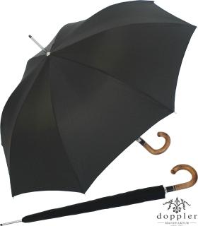 Doppler Manufaktur Herren Stockschirm Diplomat Oxford schwarz,  Holzgriff natur