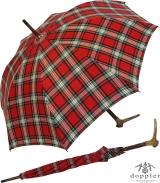 Regenschirm Doppler mit Hirschhorngriff Baumwolle Karo - rot