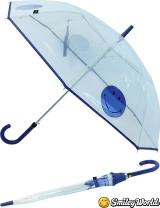 Regenschirm durchsichtig transparent Smiley World blau