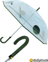 Regenschirm durchsichtig transparent Smiley World grün