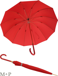 M&P eleganter leichter Damen Stockschirm - Regenschirm 12 teilig manual  - Liso rot