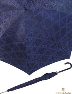 Eleganter leichter Damen Stockschirm von PERTEGAZ - glamour Jacquard blau