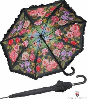 Regenschirm Rosengarten mit Rüsche Doppelbespannung UV-Protection